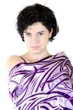 Ritratto viola di una donna fotografia stock