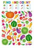 Ritrovamento e conteggio Foglio di lavoro stampabile per l'asilo e la scuola materna Esercizi per i numeri di studio Pe di verdur royalty illustrazione gratis
