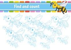 Ritrovamento e conteggio Foglio di lavoro di sviluppo di istruzione Pagina di attività con le immagini Gioco di puzzle per i bamb illustrazione vettoriale