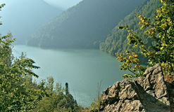 Rits's mountain lake in the mountains of the Caucasus. Royalty Free Stock Photography