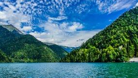 Ritsa lake in the mountains of Abkhazia. In the autumn Royalty Free Stock Photography