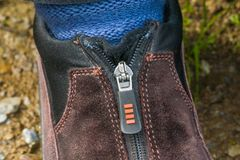 Ritssluiting en schoenen Stock Foto