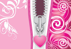 Ritssluiting met hart op de decoratieve achtergrond Stock Afbeeldingen