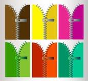 Ritssluiting in zes verschillende kleuren royalty-vrije stock foto's