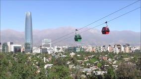 Ritt för kabelbil i Santiago, Chile arkivfilmer