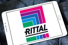 Rittal technology company logo. Logo of Rittal technology company on samsung tablet. Rittal is a German company. The company manufactures electrical enclosures stock photos