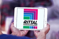 Rittal technology company logo. Logo of Rittal technology company on samsung tablet. Rittal is a German company. The company manufactures electrical enclosures stock photography