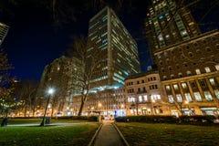 Rittenhouse Square in Center City at Night in Philadelphia, Penn. Sylvania Stock Image