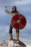 Ritter auf einem Felsen Stockbild
