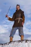 Ritter auf einem Felsen mit Stockfotos