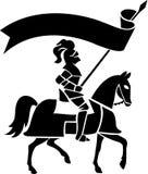Ritter auf Pferd mit Banner/ai Stockfotografie
