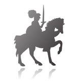 Ritter auf Pferdenvektorschattenbild Lizenzfreies Stockbild