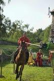 Ritter auf Pferdeturnier Stockfoto