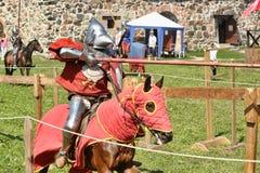 Ritter auf Pferdeturnier Stockbild