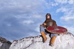 Ritter, der auf einem Felsen sitzt Lizenzfreie Stockbilder
