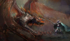 Ritter, der den Drachen kämpft Stockfotografie