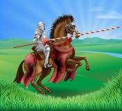 Ritter in der Rüstung mit turnierender Lanze Lizenzfreies Stockfoto