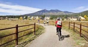 Ritter för en cyklistfamilj i nedgången Royaltyfri Foto