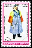 Ritter im Festkleid, nationale Kostüme von Li-Dynastie serie, circa 1979 stockbilder