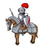 Ritter-Klagen-Körper-Schutz-Rüstung mit Klingen- und Schildkarikaturillustration stockfotos