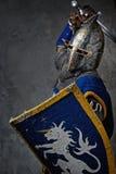 Ritter mit einem Klinge- und Schildangreifen Stockbild
