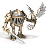 Ritter mit einem Stahlvogel Stockbild