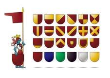 Ritter mit Wappenkundenschild stock abbildung