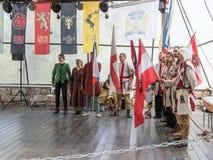 Ritter - Teilnehmer des Festival ` die Ritter von Jerusalem-` Stand auf den Listen in Jerusalem, Israel Stockfoto