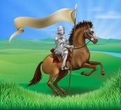 Ritter und Pferd mit Fahne Stockfotografie