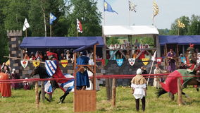 RITTER WEG, MOROZOVO, JUNE 2016: Festival of the European Middle Ages. Medieval joust with knights on a hors in armour