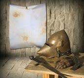 Ritterrüstung und -anzeige Stockbild