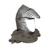 Rittersturzhelm mit der Maske angehoben und chainmail Lizenzfreie Stockbilder