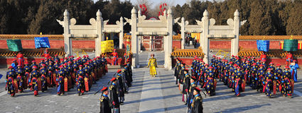 Ritual. Ancient Chinese emperor annual Spring Festival to be held in a ceremony to worship heaven and earth, praying for god to god bless, peace and prosperity royalty free stock image