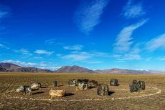 Ritual altar circle in Chuya steppe. Somewhere deep within Altai mountains, Russia royalty free stock photography