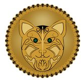 Ritual amulet with cat head in golden circle Royalty Free Stock Photos