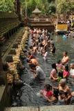 Ritual Bathing Ceremony at Tampak Siring, Bali Indonesia royalty free stock images