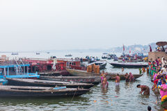 Ritual bathing in the River Ganges Stock Photo