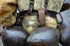 Ritual bells used by kukers. Or cuci ar the beginning of the Lent Royalty Free Stock Images