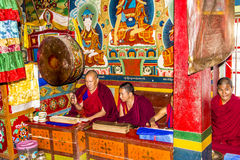 Ritual in the bon monastery. A ritual in yung drung kundrak ling bon monastery near Ravangla, India, held by four monchs.  The bon relegion is older than Royalty Free Stock Photos