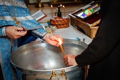 Ritual of Burning Baptism Hair Stock Photo
