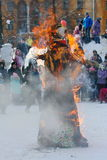 The ritual of burning effigies of the spirit of winter carnival at national public holiday. Royalty Free Stock Images