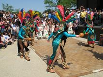 Ritual Dance. Photo of Aztec dancers performing at the Cinco De Mayo festival in Washington D.C. on May 4, 2008.  Cinco De Mayo Celebrates Mexico's victory over Stock Photography