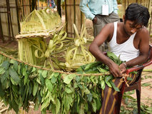 Ritual decorations using coconut leaves Stock Images