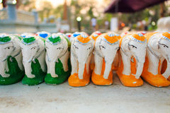 Ritual elephant. Many little statue elephant were offer sacrificed to sanctity by Thai people stock photo