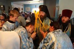 Ritual en la iglesia ortodoxa Foto de archivo