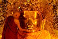 The ritual of daily face washing Mahamyatmuni Buddha . Stock Photos