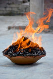 Ritual fire puja near the temple Royalty Free Stock Photo