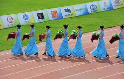 Ritual girls,award ceremony. The 9th national traditional games of ethnic minority of the people's republic of china,the image showing the ritual girls are Royalty Free Stock Photo