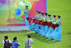 Ritual girls,award ceremony. The 9th national traditional games of ethnic minority of the people's republic of china,the image showing the ritual girls are Stock Photos