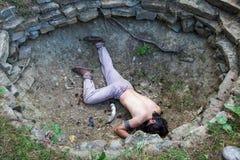 Ritual murder. HAVRANOK, SLOVAKIA - JULY 7: Celtic ritual murder at open air museum Havranok on July 7, 2015 in Havranok Royalty Free Stock Photography